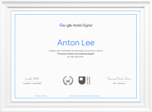 Certificado Curso Online de Marketing Digital do Google